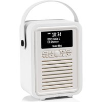 View Quest VQ Retro Mini DAB+ Digital & FM Radio with Bluetooth and Dual Alarm Clock - White