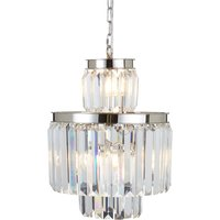 Premier Housewares Kensington Townhouse Pendant Light in Chrome with Crystals - 6 Bulbs