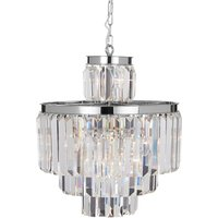 Premier Housewares Kensington Townhouse Pendant Light in Chrome with Crystals - 11 Bulbs