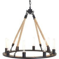 Premier Housewares Hampstead 8 Bulb Chandelier in Antique Black with Iron and Rope