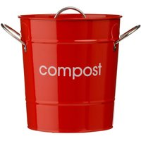 Premier Housewares Compost Bin With Plastic Inner Bucket - Red