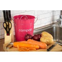 Premier Housewares Compost Bin With Plastic Inner Bucket - Hot Pink