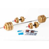York Fitness 50kg GOLD Vinyl Barbell / Dumbbell Spinlock Set
