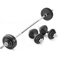 York Fitness 50kg Black Cast Iron Barbell / Dumbbell Spinlock Set