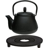 Hahn 5five Dotty Relief Black Cast Iron Teapot with Infuser and Stand - 1L