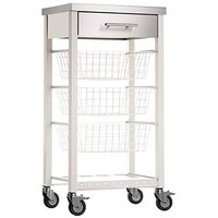 Hahn Ashwell Ivory Kitchen Trolley with Stainless Steel Top