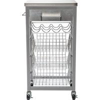 Hahn Ashwell Grey Kitchen Trolley with Stainless Steel Top