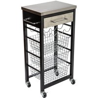 Hahn Ashwell Black Kitchen Trolley with Stainless Steel Top