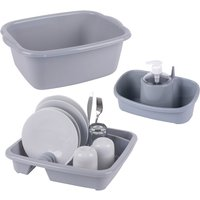 Beldray Dish Drainer Sink Caddy and Washing Bowl Set - Grey