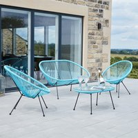 Pacific Lifestyle Rio PU 4 Piece Seating Set - Blue