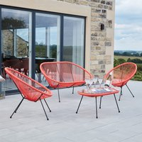 Pacific Lifestyle Rio PU 4 Piece Seating Set - Red