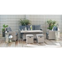 Pacific Lifestyle Barbados 6 Piece Relaxed Dining Set with Adjustable Table - Slate Grey