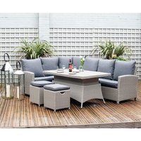 Pacific Lifestyle Barbados Dining Corner Set with Adjustable Table - Stone Grey