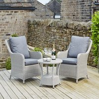 Pacific Lifestyle Antigua Bistro Set with Polywood Top - Stone Grey