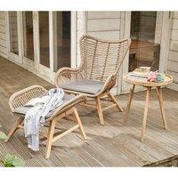 Pacific Lifestyle Aurora Chair & Hocker Set - Natural