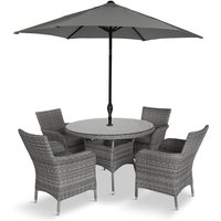 LG Outdoor Monaco Stone 4 Seat Dining Set with 2.2m Parasol