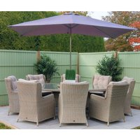 LG Outdoor Toulon 8 Seat Highback Dining Set with Lasy Susan, 2m x 3m Parasol and Base