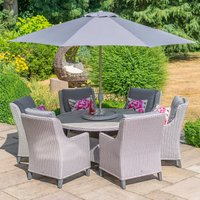 LG Outdoor Oslo 6 Seat Round Dining Set with 3m Stainless Steel Parasol and Base