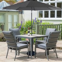 LG Outdoor Milano 4 Seat Set with Highback Armchairs, 2.5m Parasol and Base