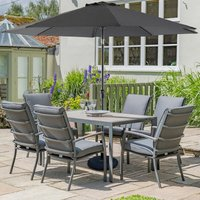 LG Outdoor Milano 6 Seat Set with Highback Armchairs with 3m Parasol and Base