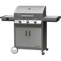 Cadac Meridian 3 Burner S/S Gas BBQ Plus Baking Stone, Reversible Plate, Warmer Pan and Universal Rotisserie