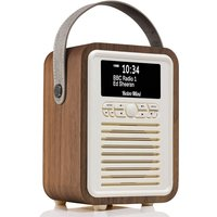 View Quest VQ Retro Mini DAB+ Digital & FM Radio with Bluetooth and Dual Alarm Clock - Walnut