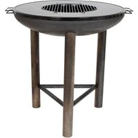 La Hacienda Large Pittsburgh Firepit with Plancha Plate - Oiled Steel