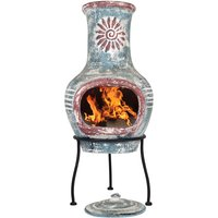 La Hacienda Swirl Small Chimenea - Sea Blue and Red