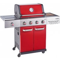 Outback Jupiter 4-Burner Hybrid Gas and Charcoal Barbecue - Red