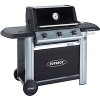 Outback Magnum 3-Burner Hybrid Gas & Charcoal BBQ - Silver & Black