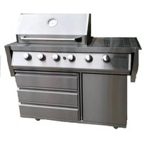 Outback Signature II 4-Burner Hybrid Gas and Charcoal BBQ plus Cover - Stainless Steel