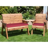 Charles Taylor Three Seat Companion Set Angled with Burgundy Cushions and Fitted Cover
