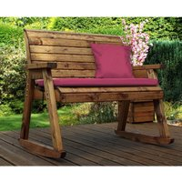 Charles Taylor Bench Rocker with Burgundy Cushions