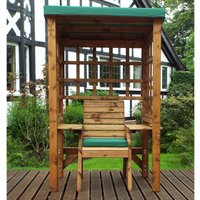 Charles Taylor Wentworth Single Arbour with Green Roof Cover and Cushions
