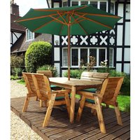 Charles Taylor 6 Seater Bench Table Set with Green Cushions,