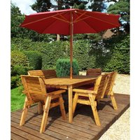 Charles Taylor 6 Seater Bench Table Set with Burgundy Cushions, Storage Bag, Parasol and Base