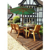 Charles Taylor 8 Seater Bench Rectangular Table Set with Green Cushions, Storage Bag, Parasol and Base