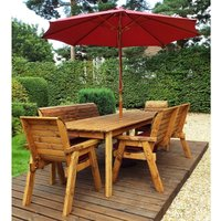 Charles Taylor 8 Seater Bench Rectangular Table Set with Burgundy Cushions, Storage Bag, Parasol and Base