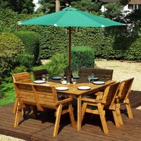 Charles Taylor 8 Seater Chair and Bench Square Table Set with Green Cushions, Storage Bag, Parasol and Base