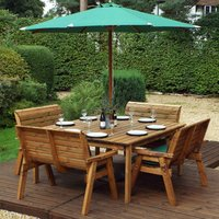 Charles Taylor 8 Seater Bench Square Table Set with Green Cushions, Storage Bag, Parasol and Base