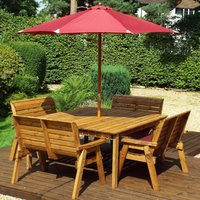 Charles Taylor 8 Seater Bench Square Table Set with Burgundy Cushions, Storage Bag, Parasol and Base