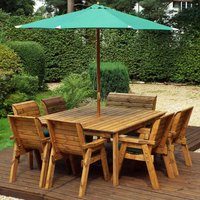 Charles Taylor 8 Seater 6 Chair and Bench Square Table Set with Green Cushions, Storage Bag, Parasol and Base