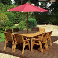 Charles Taylor 8 Seater 6 Chair and Bench Square Table Set with Burgundy Cushions, Storage Bag, Parasol and Base