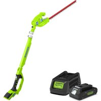 Greenworks 24v Cordless Long Reach Hedge Trimmer with 2Ah Lithium-ion Battery and Charger