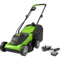 Greenworks 24V 33cm Cordless Lawnmower with 2Ah Battery and Charger