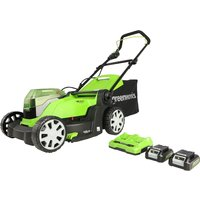 Greenworks 48v Cordless 41cm Lawnmower with Two 24v 2Ah Batteries and 2A Charger