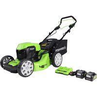 Greenworks 48v 46cm Self Propelled Cordless Lawnmower with Batteries and Dual Charger
