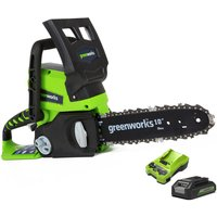 Greenworks 24v 25cm Chainsaw with 2Ah Lithium-ion Battery and Charger