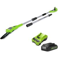 Greenworks 24v Cordless Pole Saw with 2Ah Lithium-ion Battery and Charger