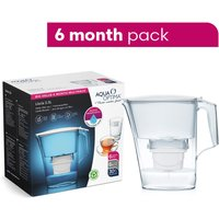 Aqua Optima Liscia Water Filter Jug including 6 x 30 Day Evolve+ Water Filter Cartridges - White